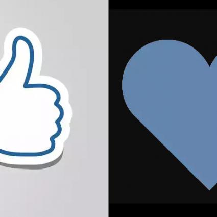 Рис. 1. Традиционное обозначение лайка и «сердечко» соцсети ВКонтакте.