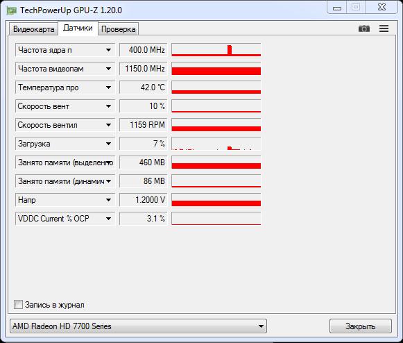 Рис. 5 – Информация из датчиков GPU-Z
