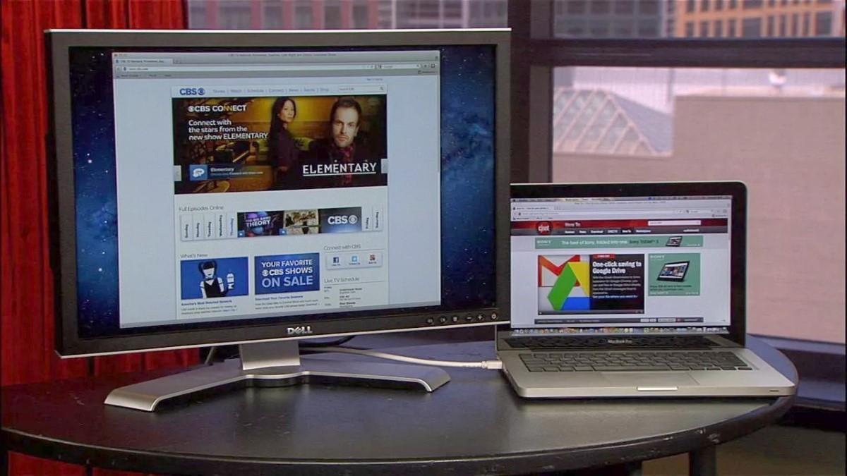 Рис. 9. Просмотр телевещания на мониторе с помощью подключения к лэптопу.