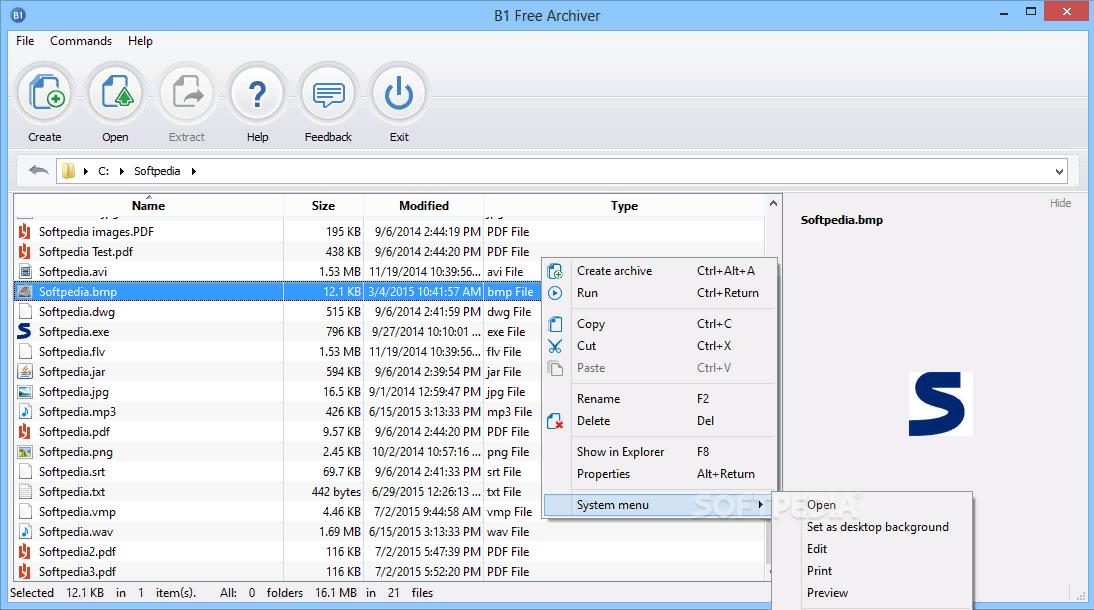 Рис. 9. Использование B1 Free Archiver для распаковки архива.