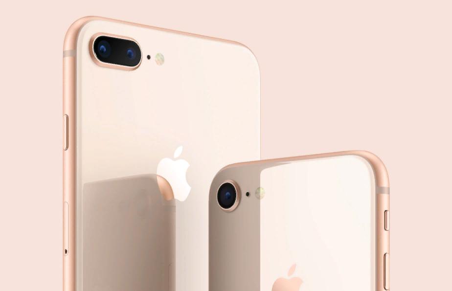 Рис. 1. Модели iPhone 8 и 8 Plus с «золотым» цветом корпуса.