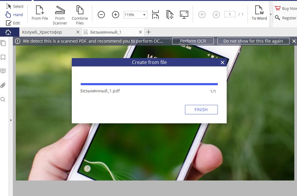 Рис. 5. Преобразование открывающегося изображения в PDF.