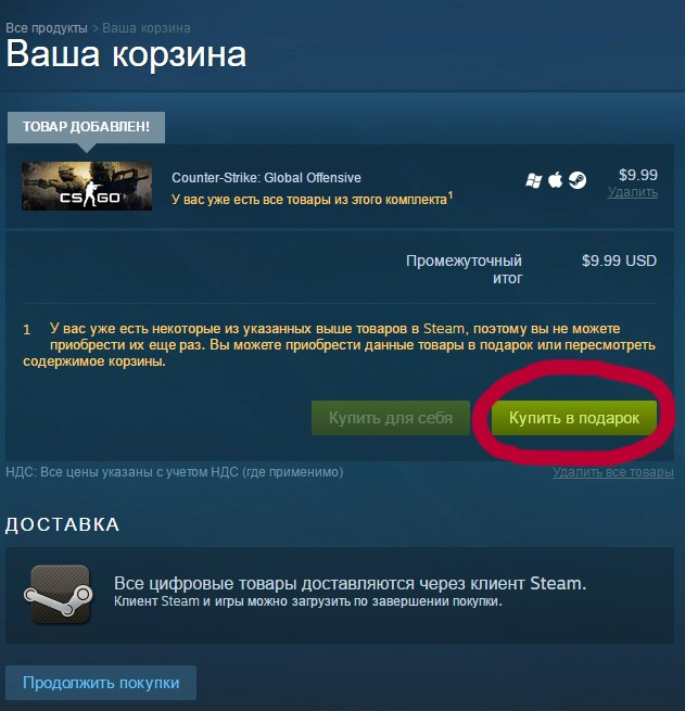 Рис.7 – приобретение подарка в Steam