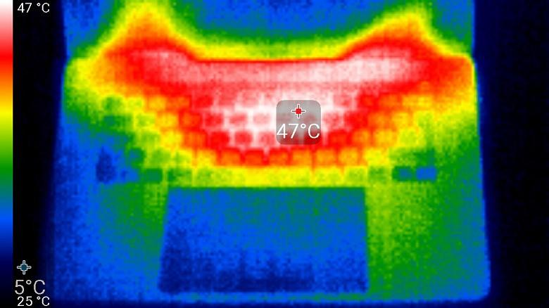 Рис.7. Места нагрева и максимальная температура при тестировании