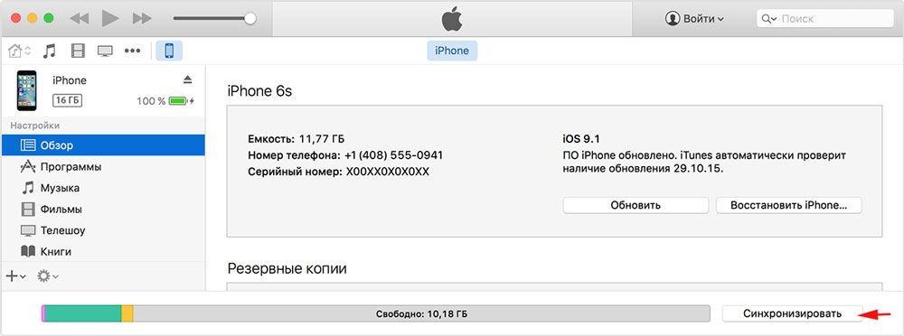 Рис.10 – Главное окно iTunes