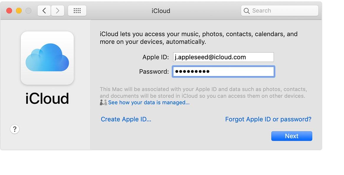Рис.3 – Окно авторизации в iCloud на OS X